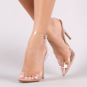 Clear Pointed Yeezy Style Blush Heels
